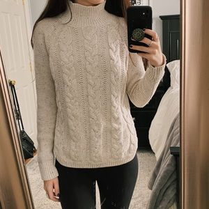 Loft Off White Cable Knit Turtleneck Sweater
